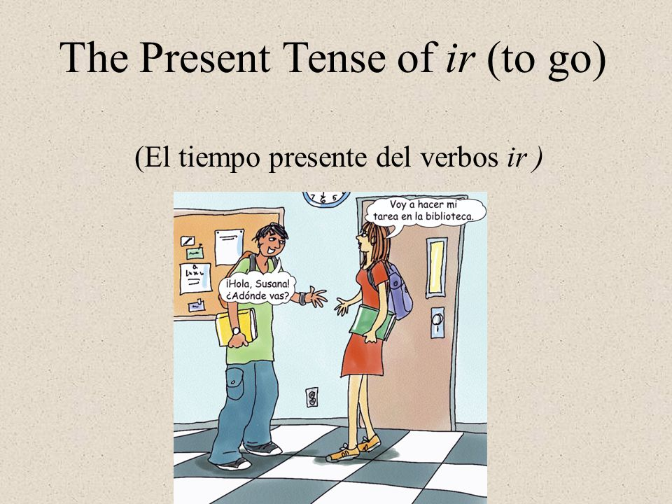 The verb ir = to go Its conjugation The verb ir is irregular not only in its yo form, but in all other forms as well.