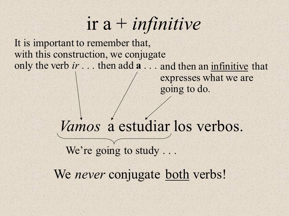ir a + infinitive It is important to remember that, with this construction, we conjugate only the verb ir... then add a... and then an infinitive that