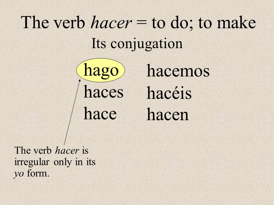 The verb hacer = to do; to make Its conjugation The verb hacer is irregular only in its yo form. haces hago hace hacemos hacéis hacen