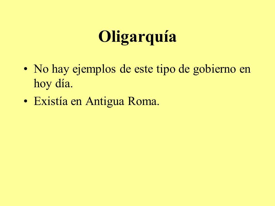 Oligarquía No hay ejemplos de este tipo de gobierno en hoy día. Existía en Antigua Roma.