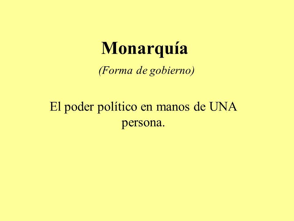 Monarquía (Forma de gobierno) El poder político en manos de UNA persona.