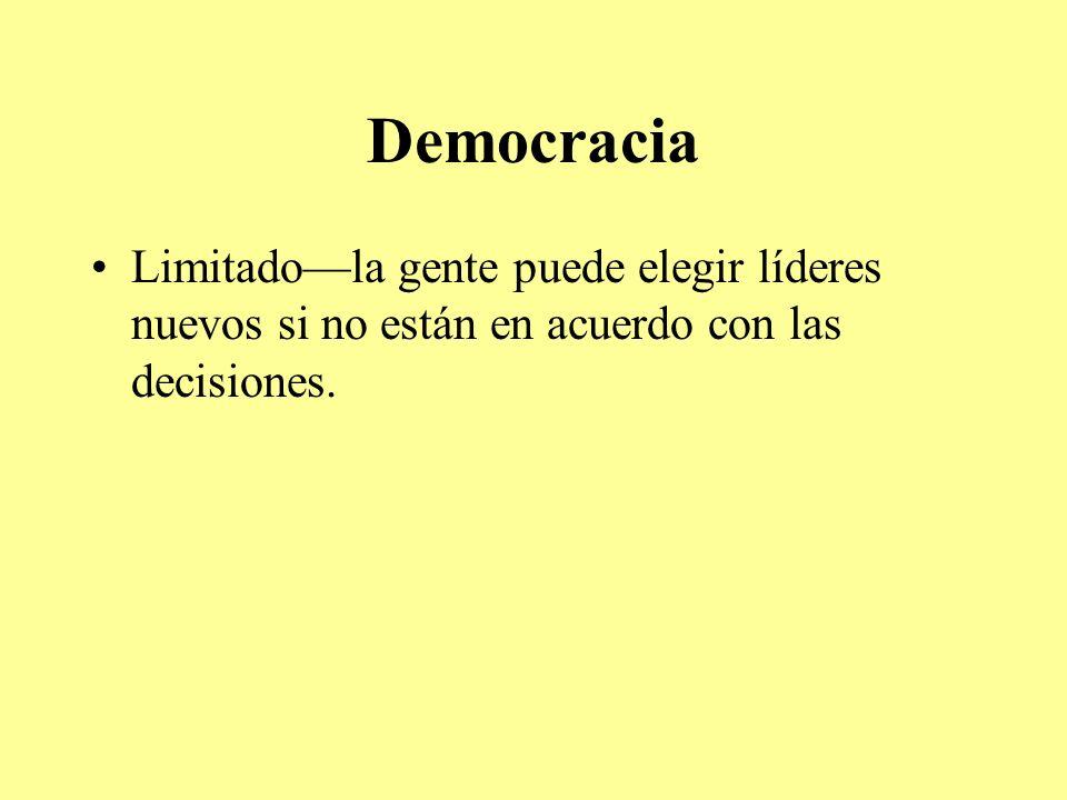Democracia Limitadola gente puede elegir líderes nuevos si no están en acuerdo con las decisiones.