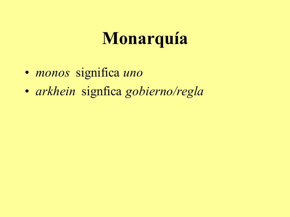 Monarquía monos significa uno arkhein signfica gobierno/regla