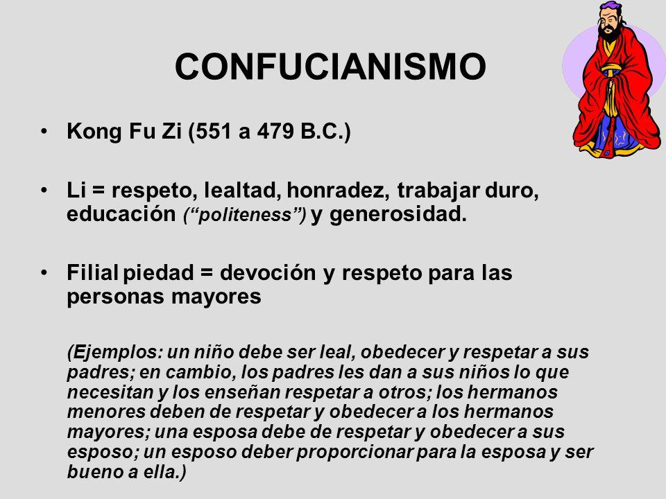 CONFUCIANISMO Kong Fu Zi (551 a 479 B.C.) Li = respeto, lealtad, honradez, trabajar duro, educación (politeness) y generosidad. Filial piedad = devoci