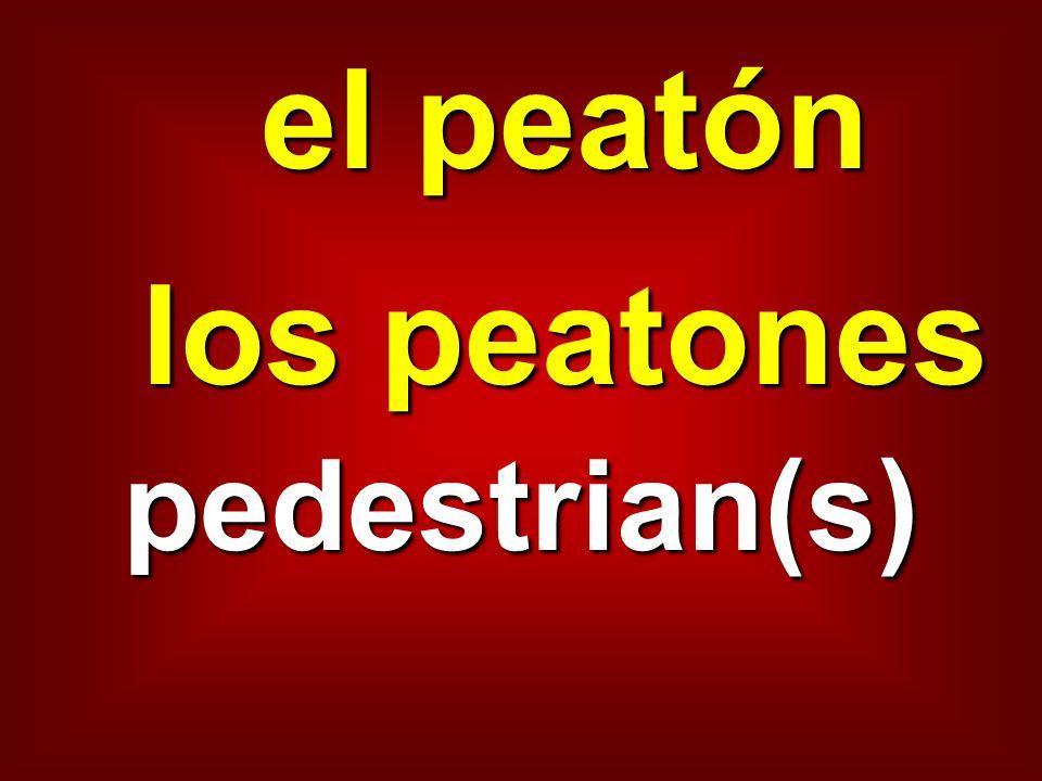 el peatón los peatones pedestrian(s)