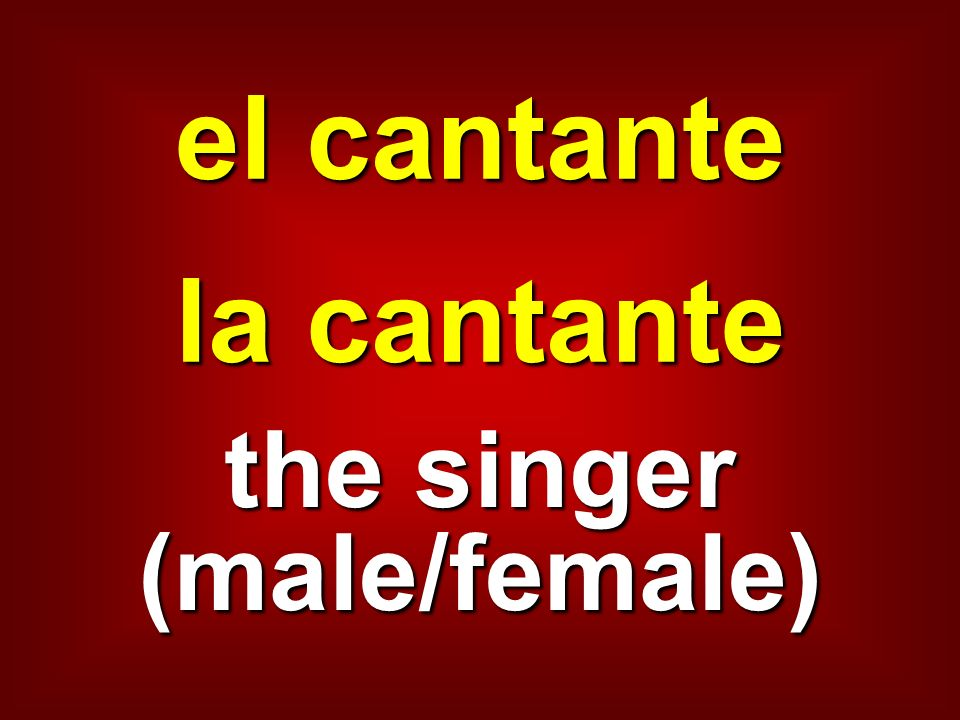 el cantante la cantante the singer (male/female)