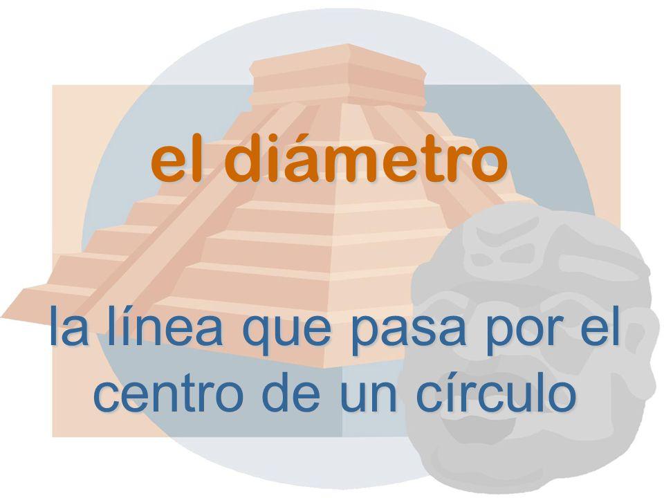 el diámetro la línea que pasa por el centro de un círculo