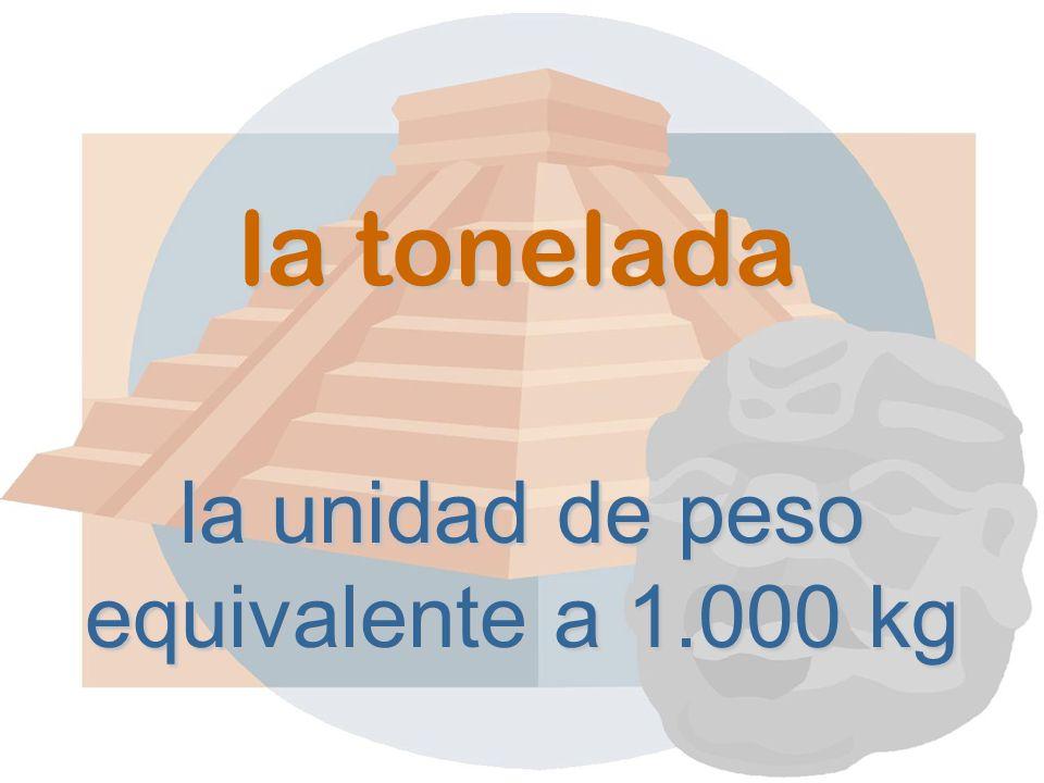 la tonelada la unidad de peso equivalente a 1.000 kg
