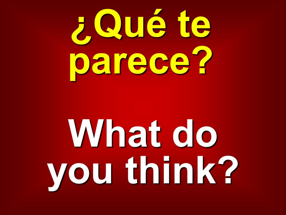 ¿Qué te parece What do you think