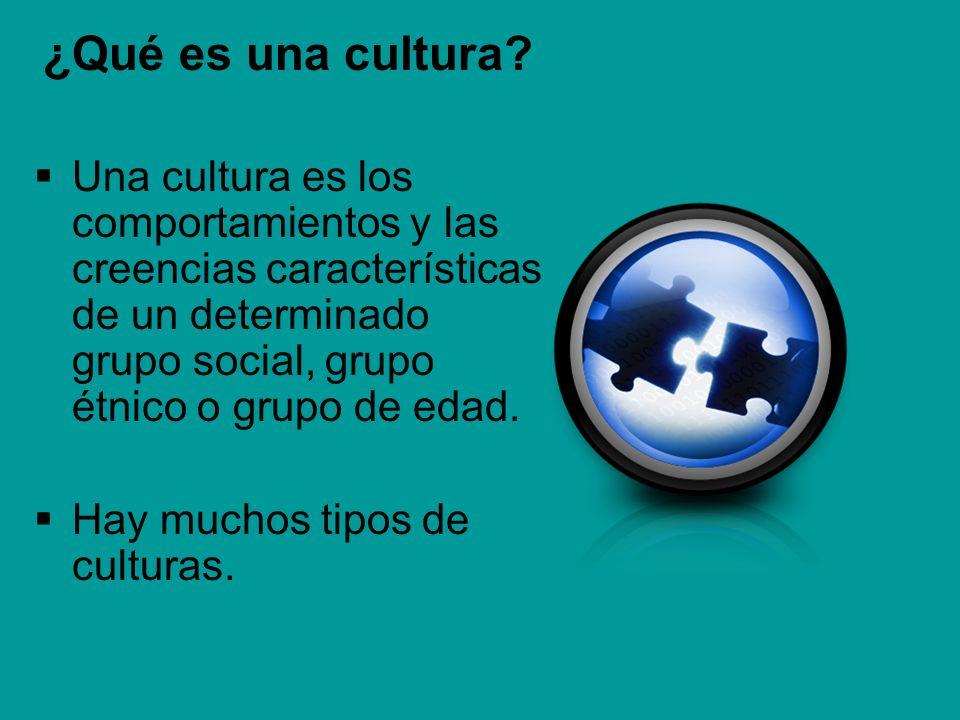 ¿Qué es una cultura? Una cultura es los comportamientos y las creencias características de un determinado grupo social, grupo étnico o grupo de edad.