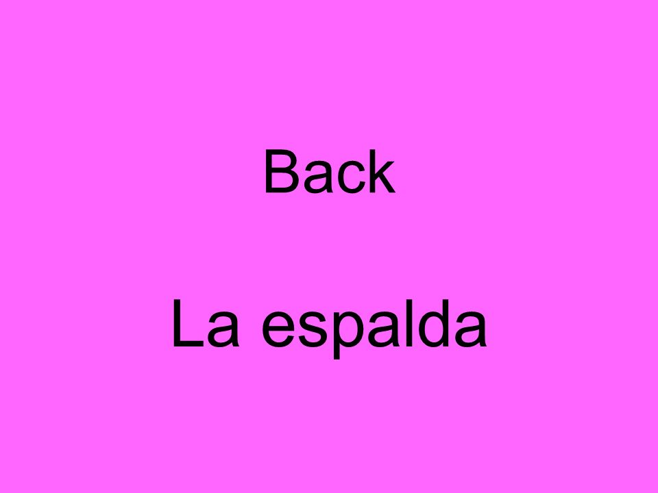 Back La espalda