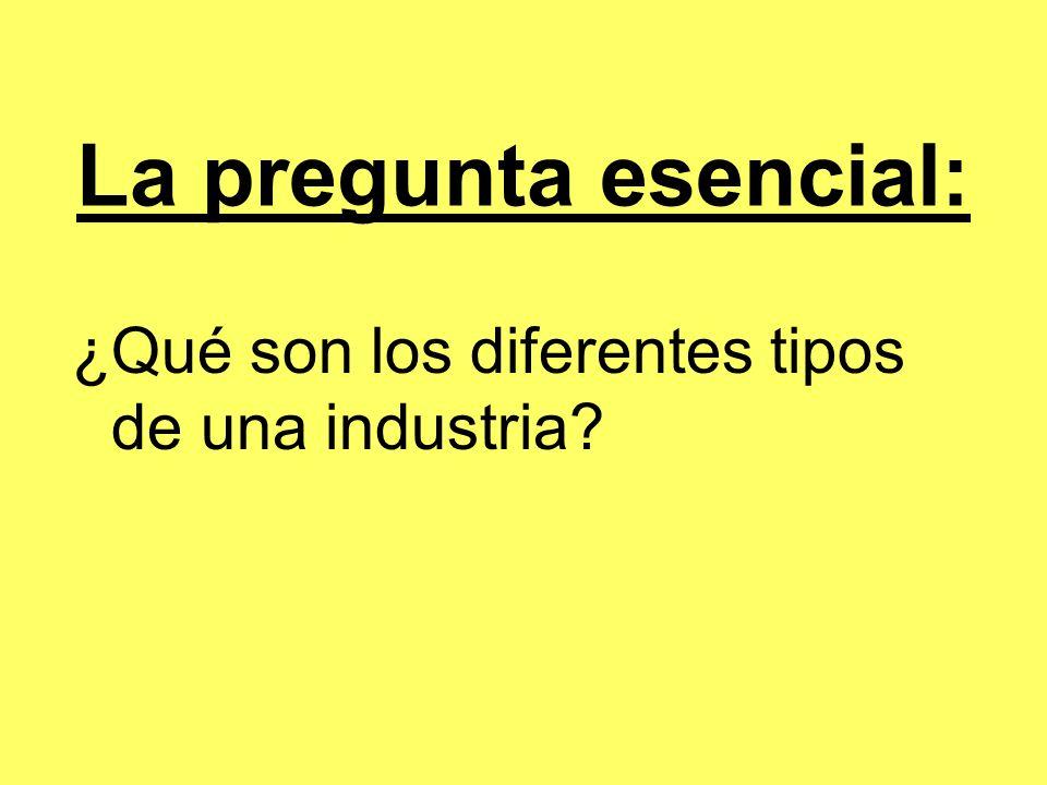 La pregunta esencial: ¿Qué son los diferentes tipos de una industria?