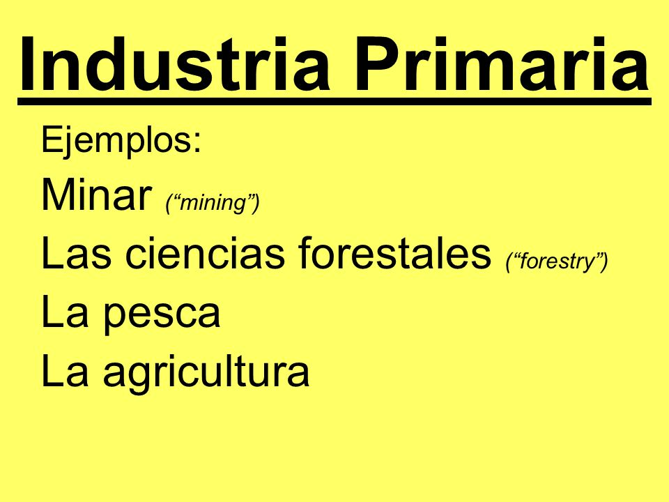 Industria Secundaria Una industria que hace los productos usando los recursos naturales.