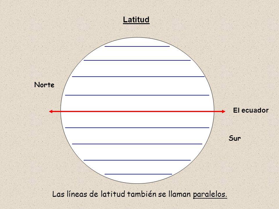 Latitud Norte Sur Las líneas de latitud también se llaman paralelos. El ecuador