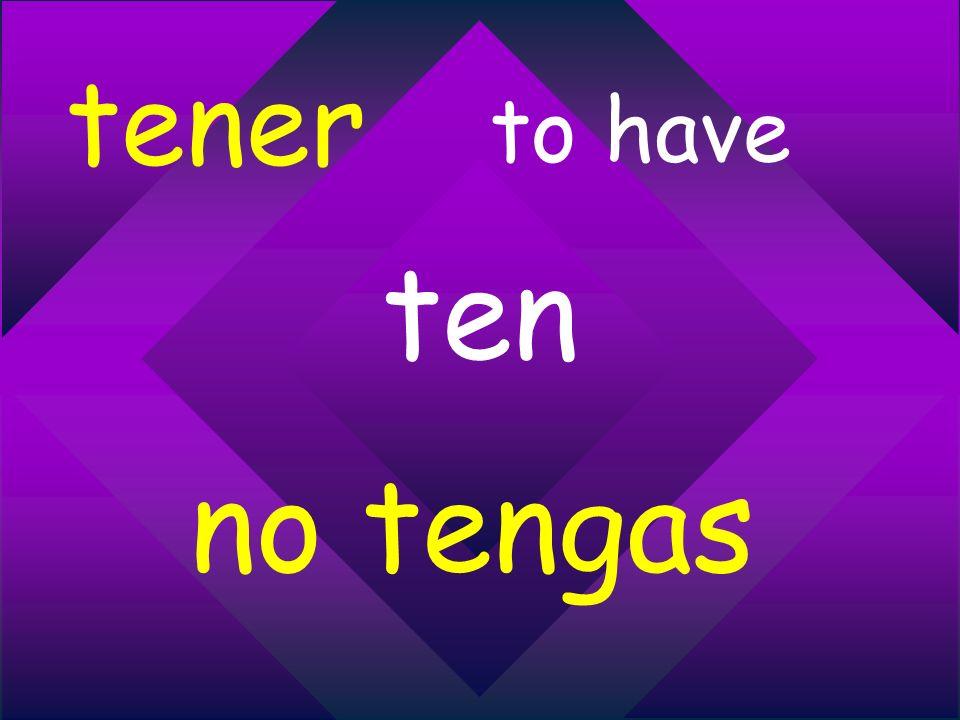 tener to have ten no tengas