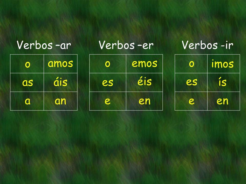 Verbos –arVerbos –erVerbos -ir o as a amos áis an o es e emos éis en o es e imos ís en