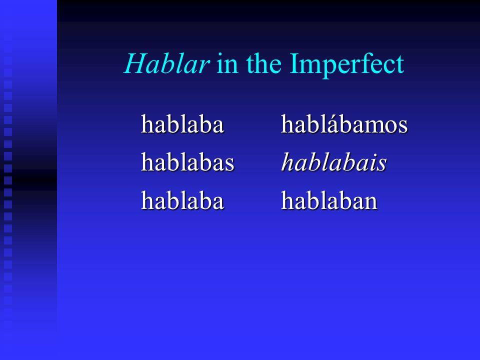 Hablar in the Imperfect hablabahablabashablaba hablábamos hablabais hablaban
