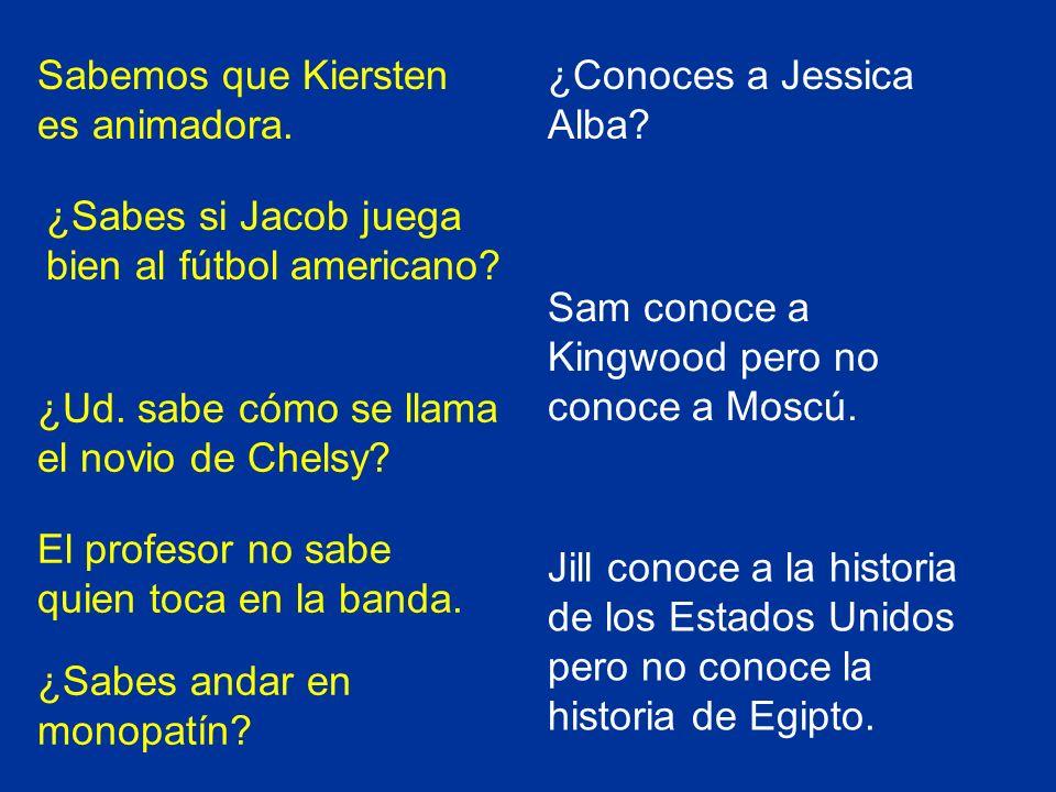 Sabemos que Kiersten es animadora.¿Sabes si Jacob juega bien al fútbol americano.