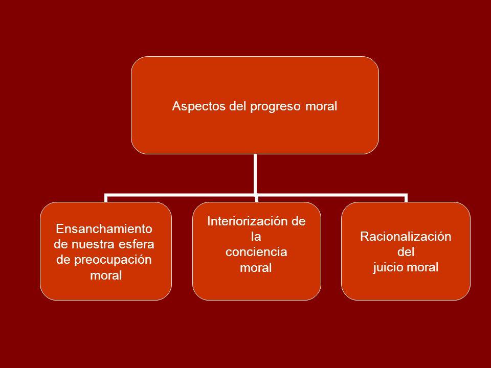 Aspectos del progreso moral Ensanchamiento de nuestra esfera de preocupación moral Interiorización de la conciencia moral Racionalización del juicio m