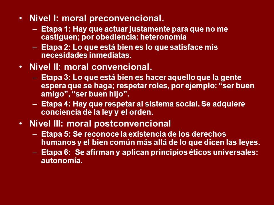 Nivel I: moral preconvencional. –Etapa 1: Hay que actuar justamente para que no me castiguen; por obediencia: heteronomía –Etapa 2: Lo que está bien e