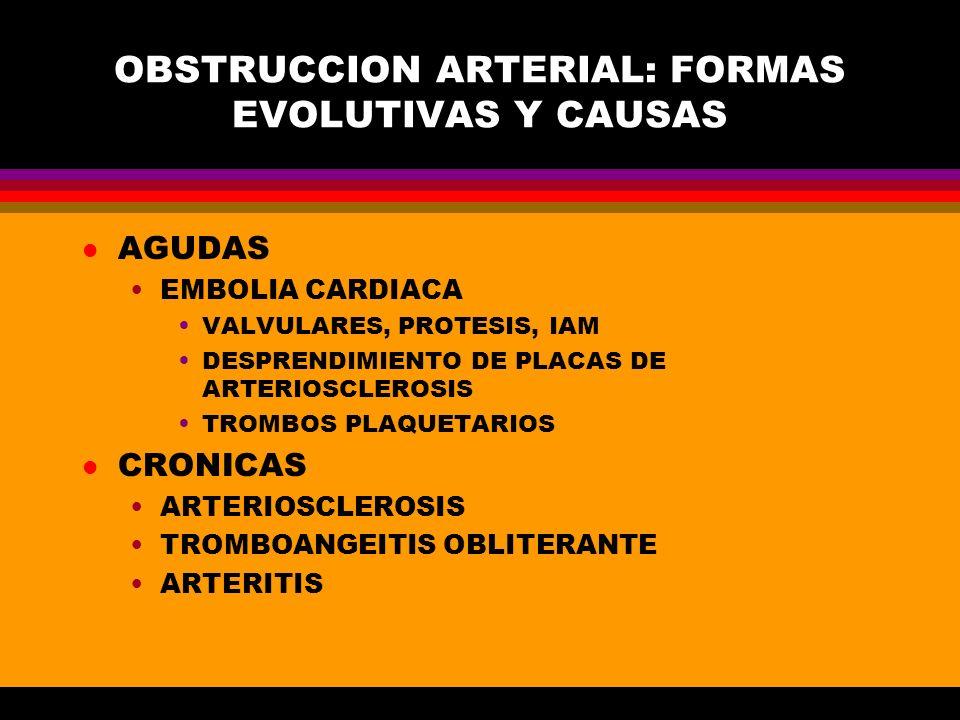 OBSTRUCCION ARTERIAL: FORMAS EVOLUTIVAS Y CAUSAS l AGUDAS EMBOLIA CARDIACA VALVULARES, PROTESIS, IAM DESPRENDIMIENTO DE PLACAS DE ARTERIOSCLEROSIS TRO