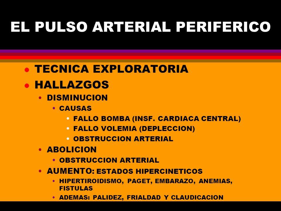 EL PULSO ARTERIAL PERIFERICO l TECNICA EXPLORATORIA l HALLAZGOS DISMINUCION CAUSAS FALLO BOMBA (INSF. CARDIACA CENTRAL) FALLO VOLEMIA (DEPLECCION) OBS