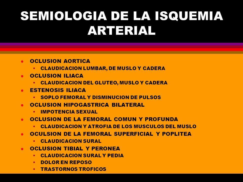 SEMIOLOGIA DE LA ISQUEMIA ARTERIAL l OCLUSION AORTICA CLAUDICACION LUMBAR, DE MUSLO Y CADERA l OCLUSION ILIACA CLAUDICACION DEL GLUTEO, MUSLO Y CADERA