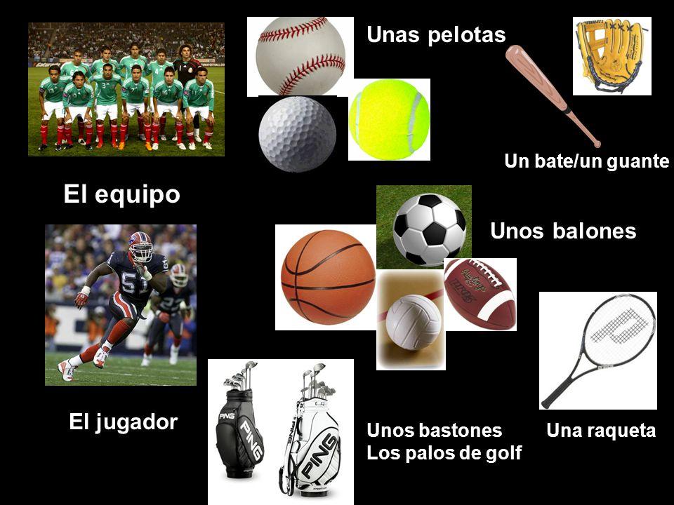 El equipo El jugador Unas pelotas Unos balones Unos bastones Los palos de golf Una raqueta Un bate/un guante
