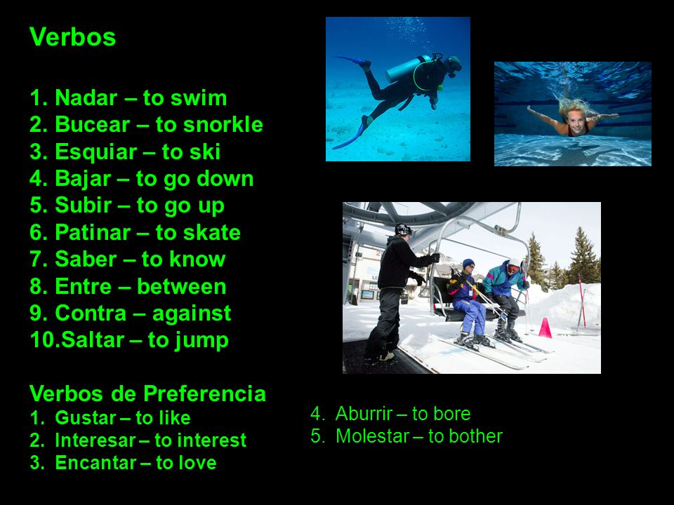 Verbos 1.Nadar – to swim 2.Bucear – to snorkle 3.Esquiar – to ski 4.Bajar – to go down 5.Subir – to go up 6.Patinar – to skate 7.Saber – to know 8.Ent
