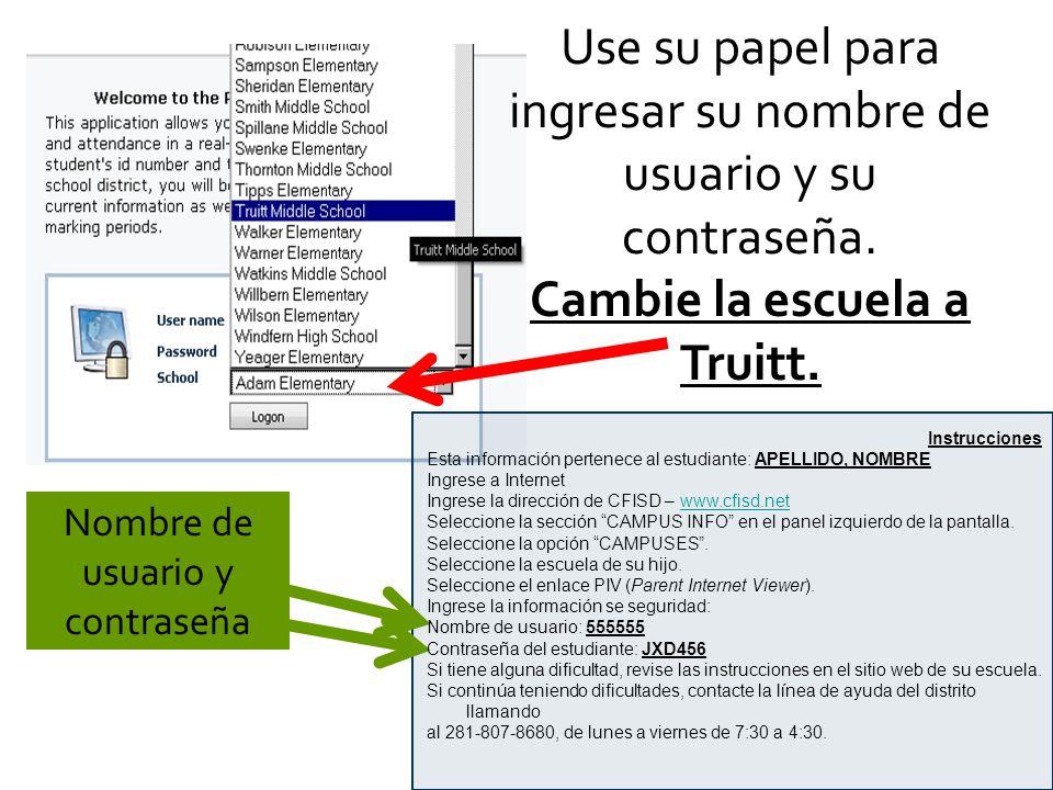 Use su papel para ingresar su nombre de usuario y su contraseña.