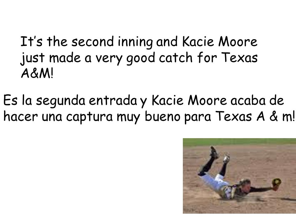Its the second inning and Kacie Moore just made a very good catch for Texas A&M.