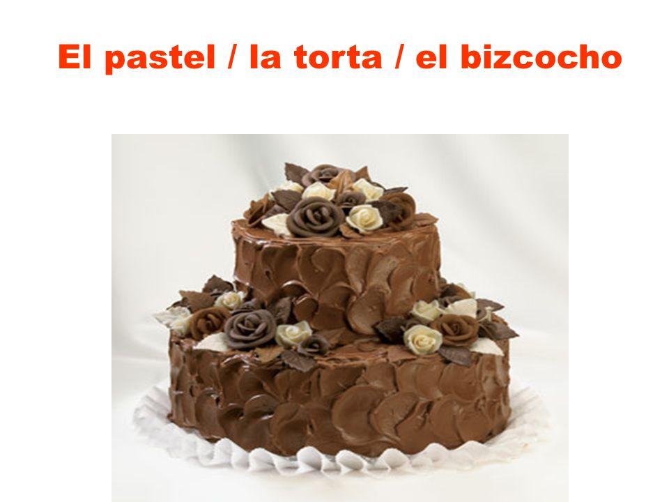 El pastel / la torta / el bizcocho