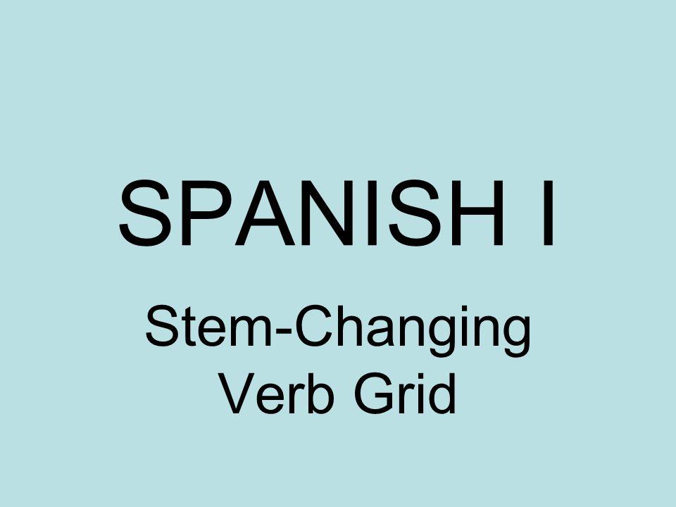 SPANISH I Stem-Changing Verb Grid