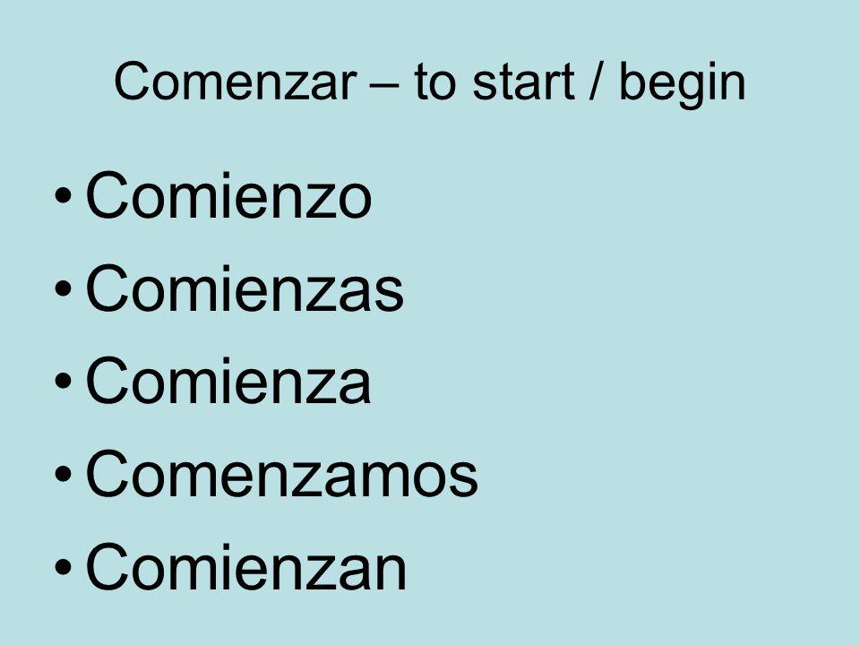 Comenzar – to start / begin Comienzo Comienzas Comienza Comenzamos Comienzan