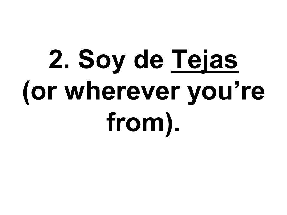 2. Soy de Tejas (or wherever youre from).