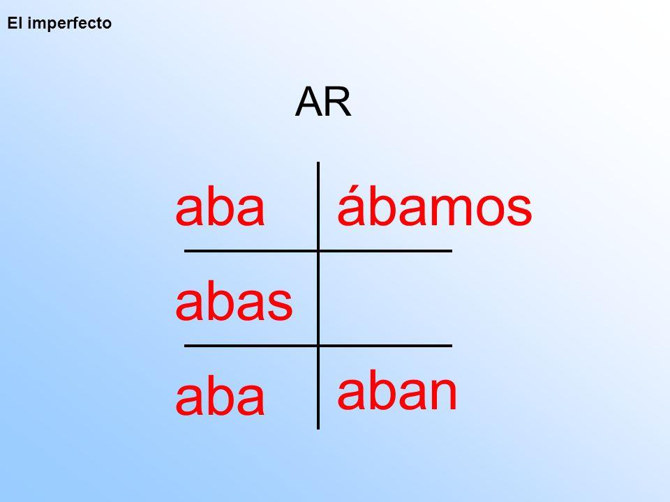 El imperfecto AR aba aban abas aba ábamos