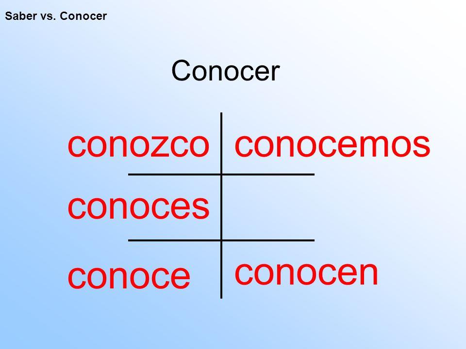 Saber vs. Conocer Conocer conozco conocen conoces conoce conocemos
