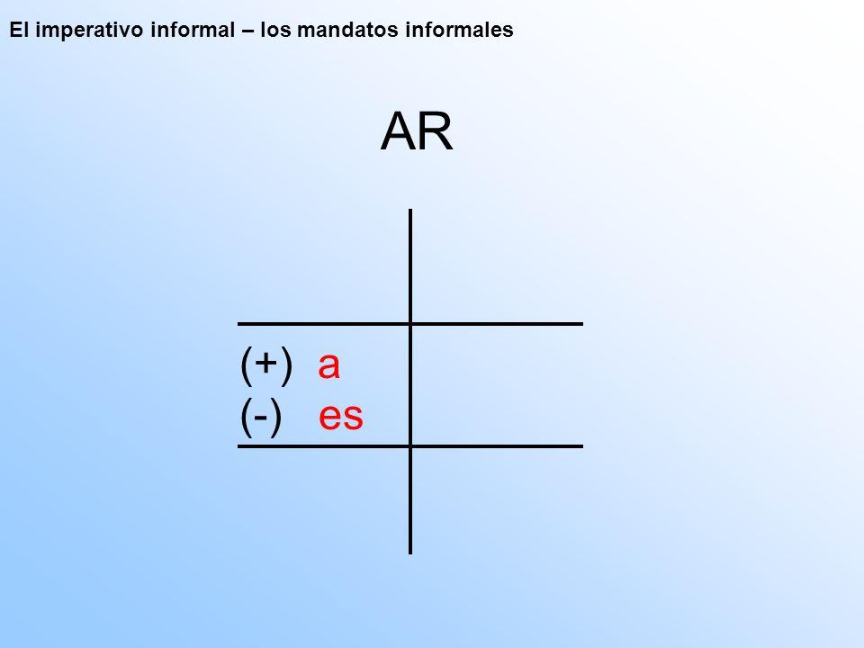 El imperativo informal – los mandatos informales AR (+) a (-) es