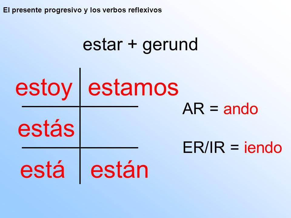 El presente progresivo y los verbos reflexivos estar + gerund estoy están estás está estamos AR = ando ER/IR = iendo