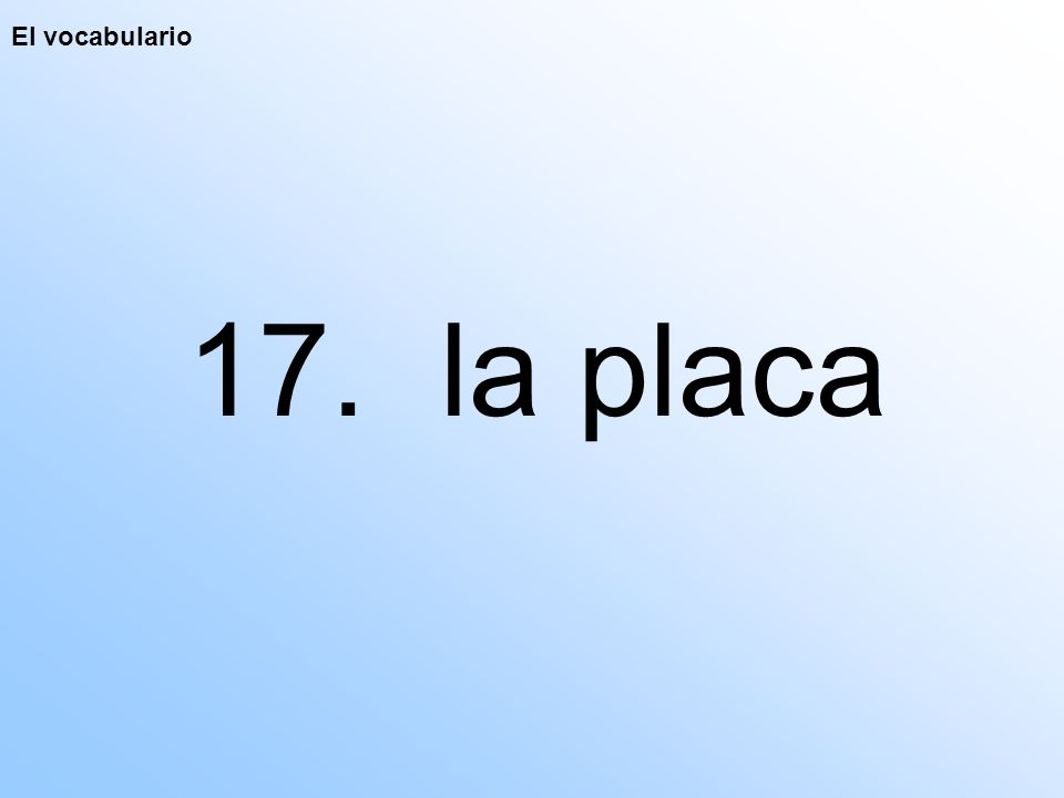 El vocabulario 17. la placa
