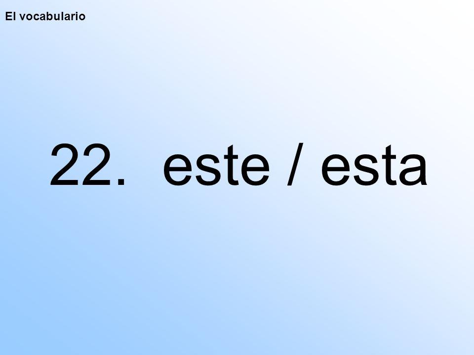 El vocabulario 22. este / esta