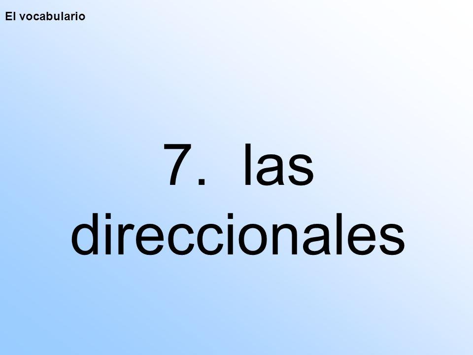 El vocabulario 7. las direccionales