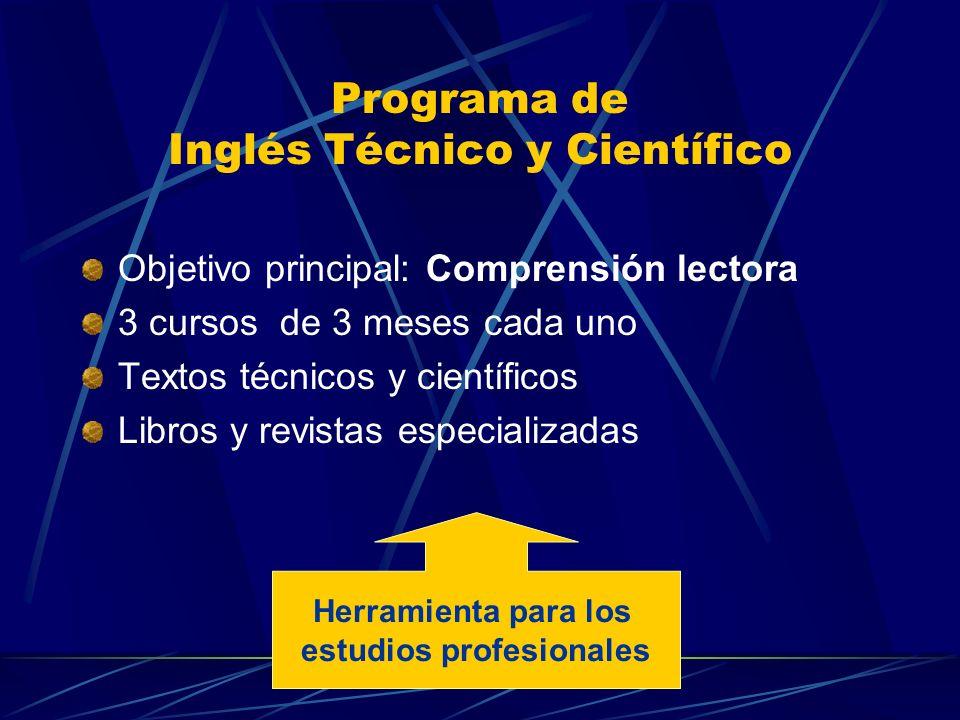Programa de Inglés Técnico y Científico Objetivo principal: Comprensión lectora 3 cursos de 3 meses cada uno Textos técnicos y científicos Libros y re