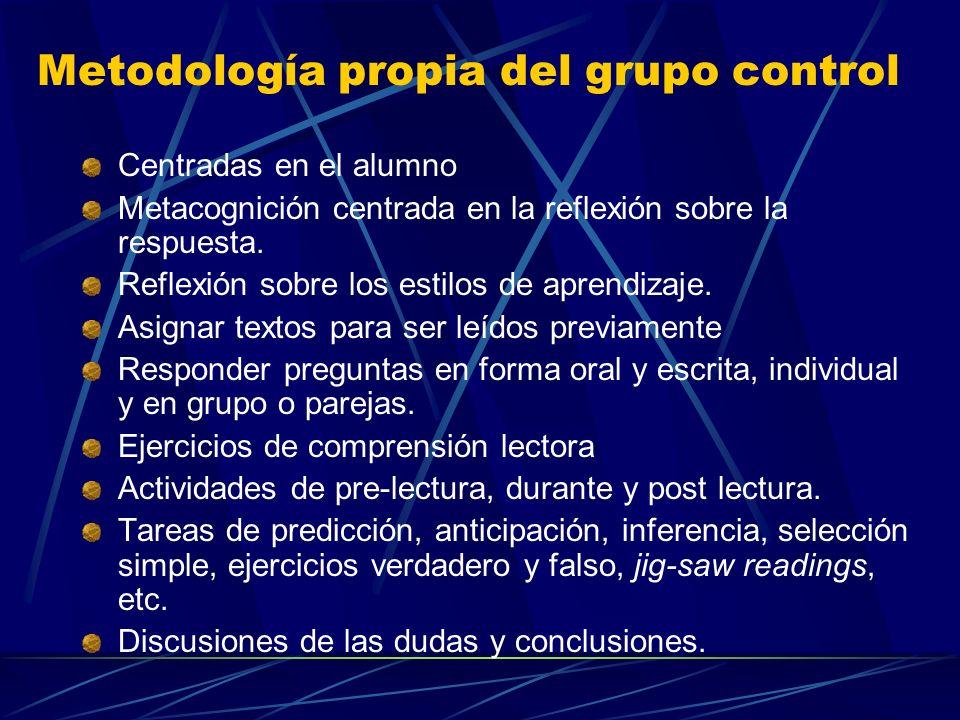 Metodología propia del grupo control Centradas en el alumno Metacognición centrada en la reflexión sobre la respuesta. Reflexión sobre los estilos de
