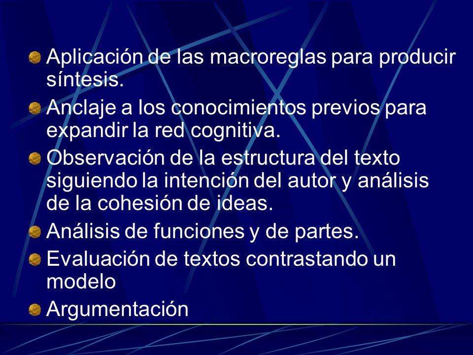 Aplicación de las macroreglas para producir síntesis. Anclaje a los conocimientos previos para expandir la red cognitiva. Observación de la estructura