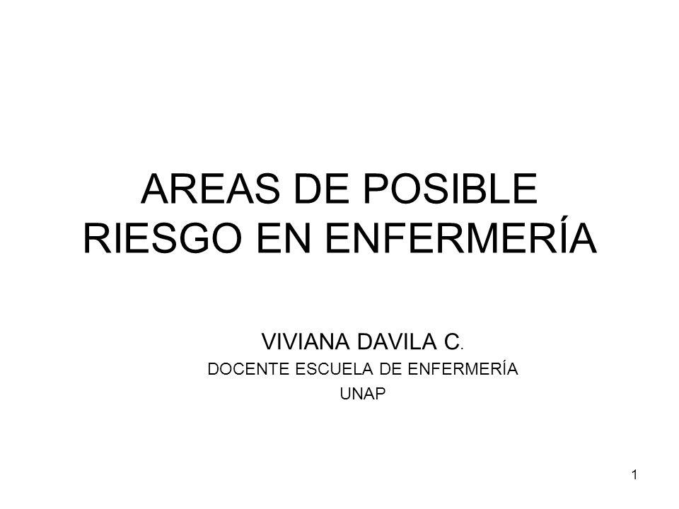1 AREAS DE POSIBLE RIESGO EN ENFERMERÍA VIVIANA DAVILA C. DOCENTE ESCUELA DE ENFERMERÍA UNAP