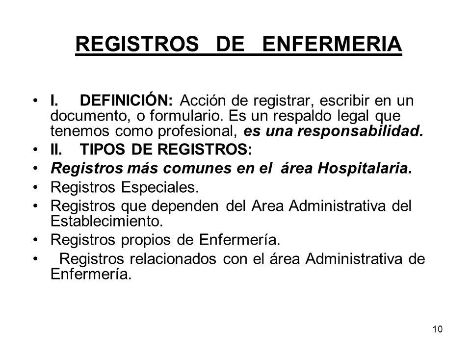 10 REGISTROS DE ENFERMERIA I.DEFINICIÓN: Acción de registrar, escribir en un documento, o formulario. Es un respaldo legal que tenemos como profesiona