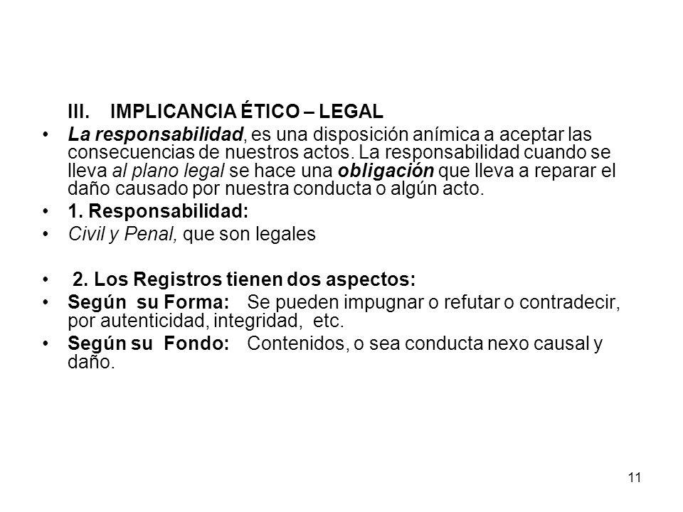 11 III.IMPLICANCIA ÉTICO – LEGAL La responsabilidad, es una disposición anímica a aceptar las consecuencias de nuestros actos. La responsabilidad cuan
