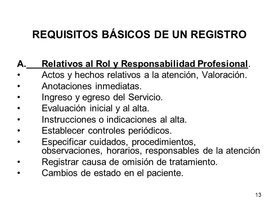 13 REQUISITOS BÁSICOS DE UN REGISTRO A.Relativos al Rol y Responsabilidad Profesional. Actos y hechos relativos a la atención, Valoración. Anotaciones