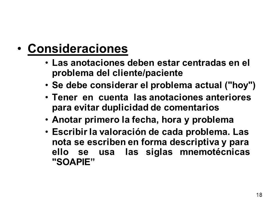 18 Consideraciones Las anotaciones deben estar centradas en el problema del cliente/paciente Se debe considerar el problema actual (